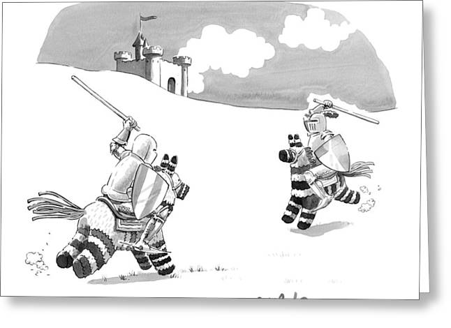 Two Medieval Knights Joust On Pinatas Greeting Card by Liam Walsh