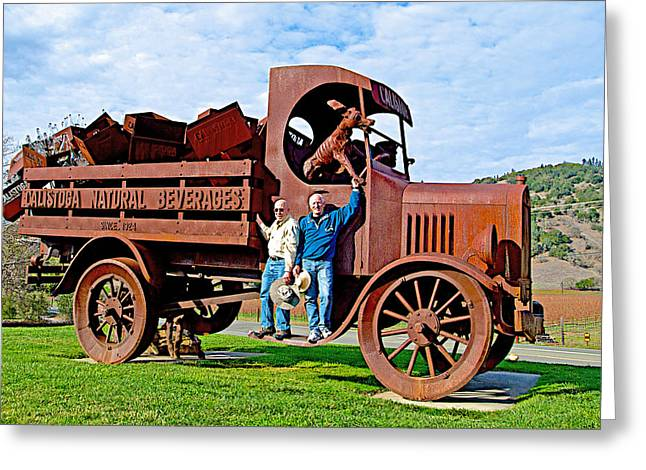 Calistoga Digital Art Greeting Cards - Two Men and a Truck in Calistoga-CA Greeting Card by Ruth Hager