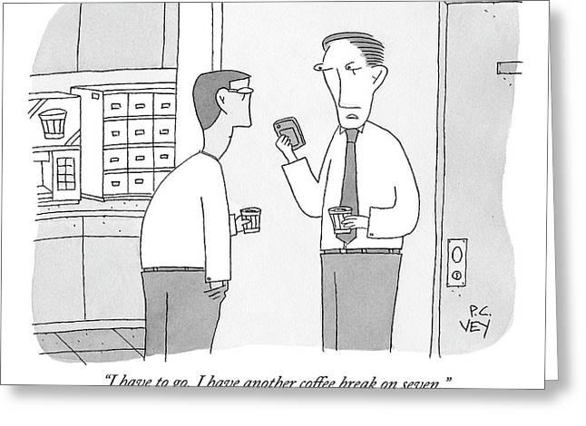 Two Men Drink Coffee In The Office Break Room Greeting Card by Peter C. Vey