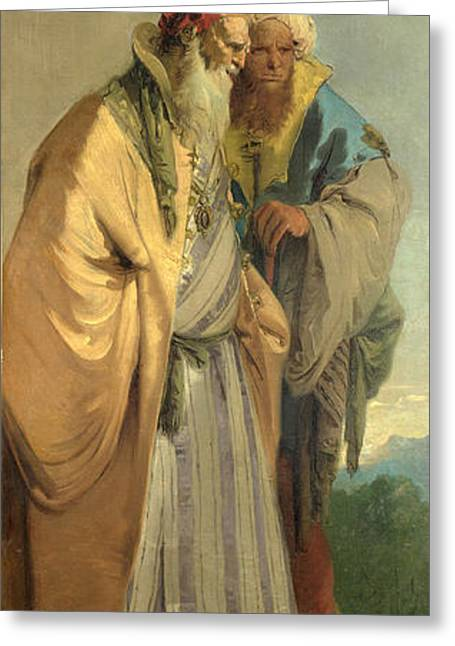Giovanni Battista Tiepolo Greeting Cards - Two Men in Oriental Costume Greeting Card by Giovanni Battista Tiepolo