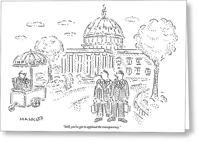Two Men Speak In Front Of The Capitol And Look Greeting Card by Robert Mankoff