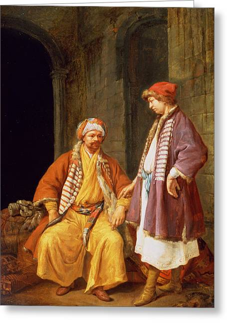 Silk Greeting Cards - Two Merchants Conversing Greeting Card by Jacob Toorenvliet