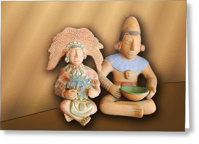 Clay Sculpture Greeting Cards - Two Mexican Art Figures Greeting Card by Linda Phelps