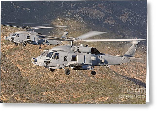 Sikorsky Photographs Greeting Cards - Two Mh-60 Helicopters Of The U.s. Navy Greeting Card by Phil Wallick