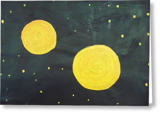 Two Moons Greeting Card by Dotti Hannum