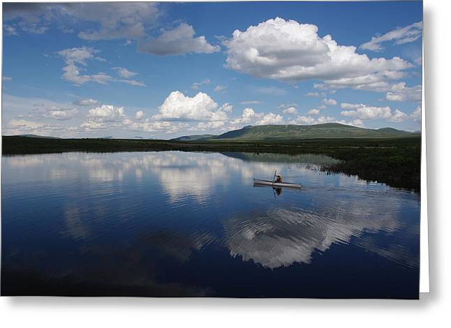 Canoe Greeting Cards - Two Moose Lake Greeting Card by Bob Cunningham