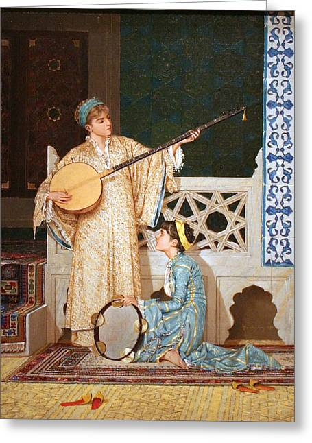 Sunset Scenes. Drawings Greeting Cards - Two Musician Girls Greeting Card by Osman Hamdi Bey