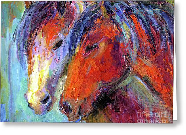 Wild Horse Greeting Cards - Two mustang horses painting Greeting Card by Svetlana Novikova
