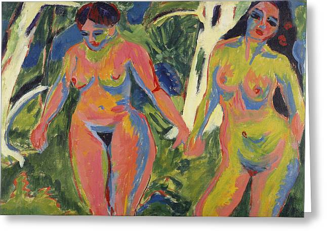 Expressionist Greeting Cards - Two Nude Women in a Wood Greeting Card by Ernst Ludwig Kirchner