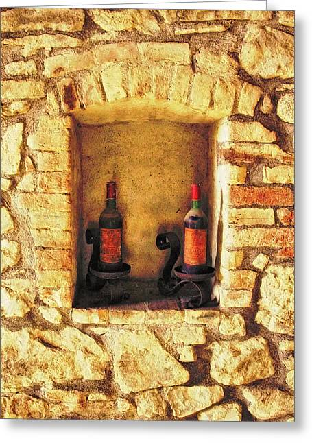 Brunello Greeting Cards - Two Old Brunello Wine Bottles in Tuscany Greeting Card by Greg Matchick