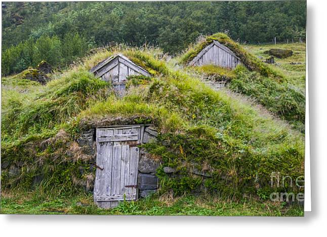 Run Down Digital Art Greeting Cards - Two old icelandic houses Greeting Card by Patricia Hofmeester