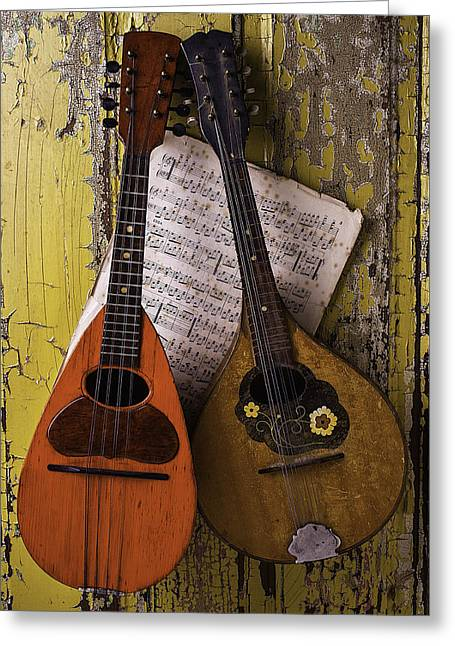 Mandolin Greeting Cards - Two Old Mandolins Greeting Card by Garry Gay