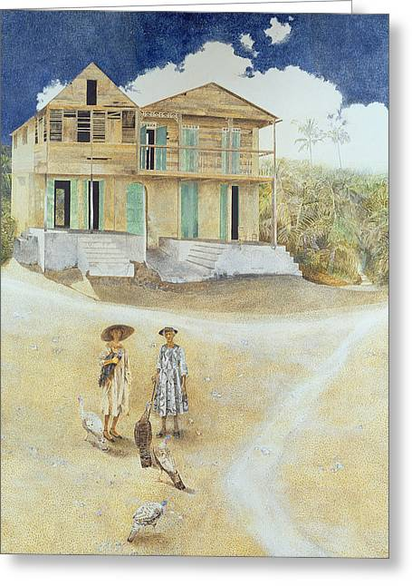 Elderly Female Greeting Cards - Two Old Sisters, Jacmel, Haiti, 1974 Oil On Canvas Greeting Card by James Reeve