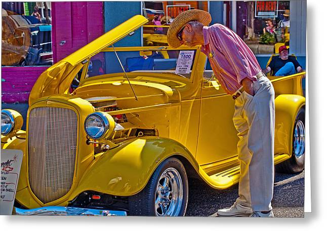 Hot Pink Custom Greeting Cards - Two Old Timers  Greeting Card by Roger Reeves  and Terrie Heslop