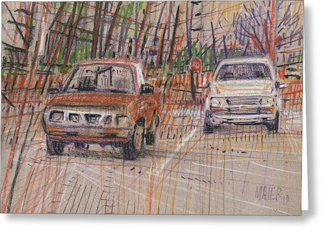 Pick-ups Greeting Cards - Two Old Trucks Greeting Card by Donald Maier