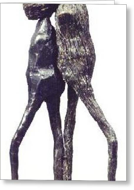 Figurative Sculptures Greeting Cards - Two One Head Greeting Card by Janet  Lipp