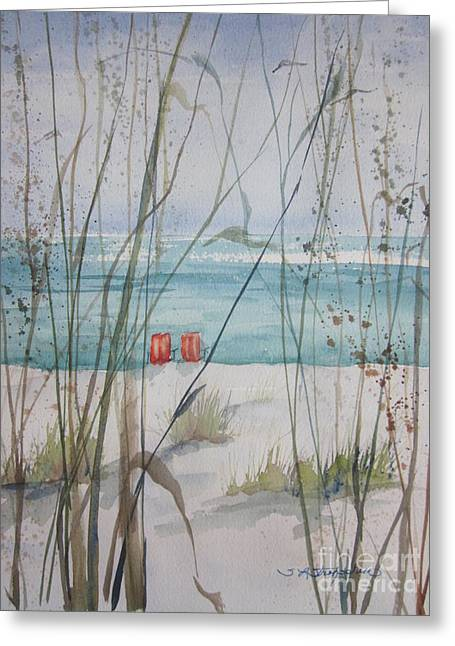 Sand Dunes Paintings Greeting Cards - Two Orange Chairs Greeting Card by Sandra Strohschein