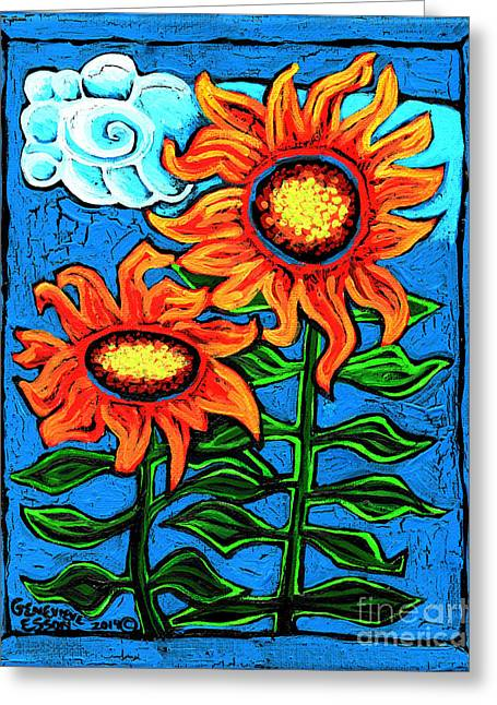 Esson Genevieve Esson Greeting Cards - Two Orange  Sunflowers II Greeting Card by Genevieve Esson