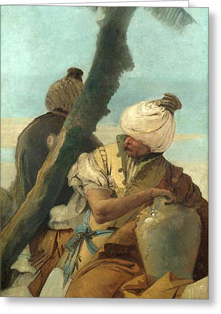 Giovanni Battista Tiepolo Greeting Cards - Two Orientals seated under a Tree Greeting Card by Giovanni Battista Tiepolo