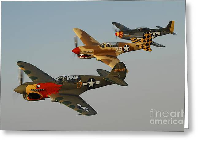 Curtiss Kittyhawk P-40 Greeting Cards - Two P-40 Warhawks And A P-51d Mustang Greeting Card by Phil Wallick