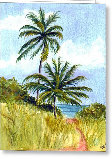 Bahia Honda State Park Greeting Cards - Two Palms Greeting Card by Clara Sue Beym