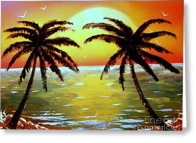 Two Palms Greeting Card by Greg Moores