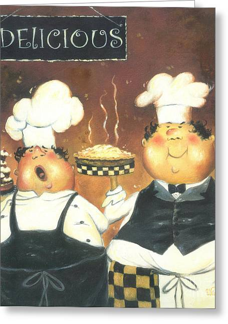 Vickie Wade Paintings Greeting Cards - Two Pastry Chefs Greeting Card by Vickie Wade