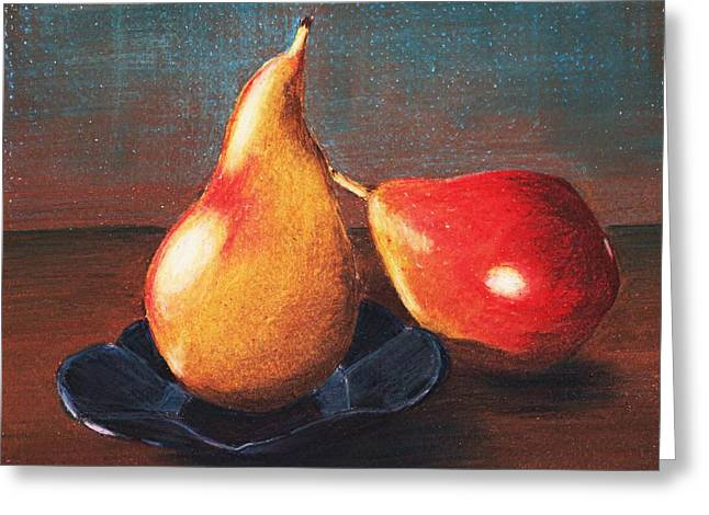 Fall Scenes Drawings Greeting Cards - Two Pears Greeting Card by Anastasiya Malakhova