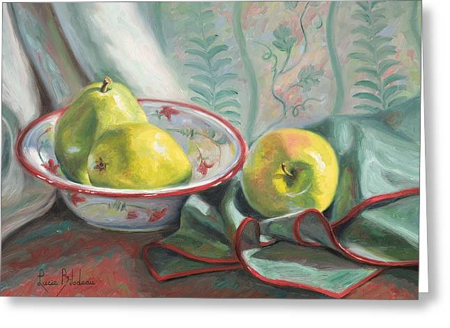 Apple Paintings Greeting Cards - Two Pears and One Apple Greeting Card by Lucie Bilodeau