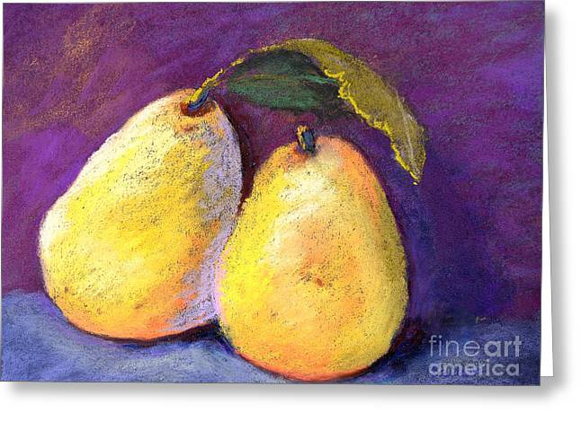 Fresh Green Pastels Greeting Cards - Two Pears Greeting Card by Arlene Baller