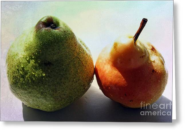 Agronomy Greeting Cards - Two pears Greeting Card by Lali Kacharava