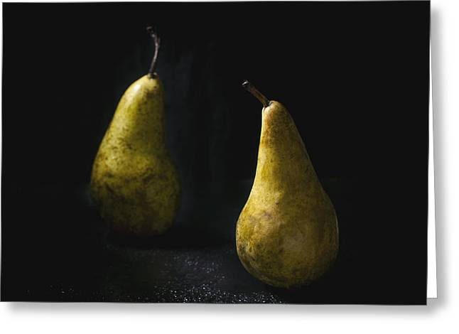 Ripe Pyrography Greeting Cards - Two pears Greeting Card by Natasha Breen