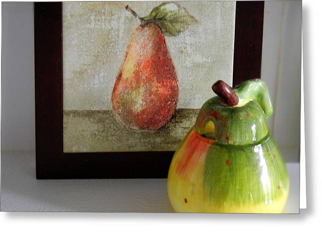 Couple Ceramics Greeting Cards - Two Pears Greeting Card by Ruta Naujokiene