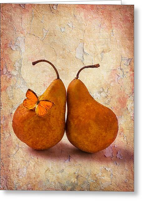 Leaned Greeting Cards - Two Pears With Butterfly Greeting Card by Garry Gay