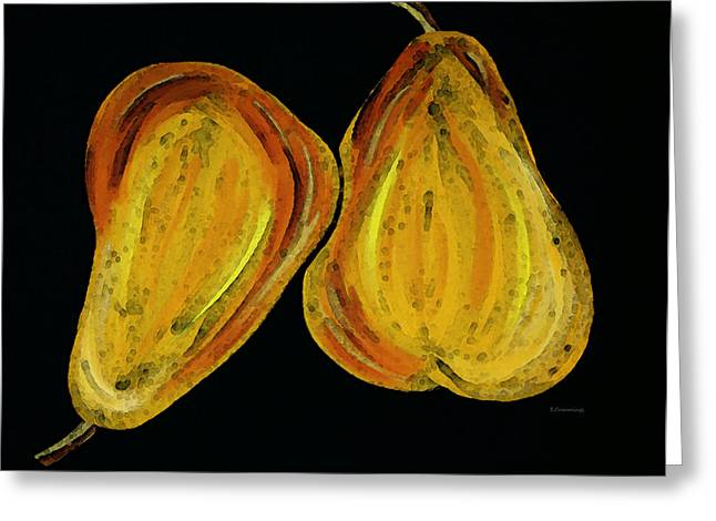 Pear Art Greeting Cards - Two Pears - Yellow Gold Fruit Food Art Greeting Card by Sharon Cummings