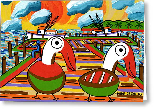 Mike Segal Greeting Cards - Two Pelicans on the Pier-Cedar Key Greeting Card by Mike Segal