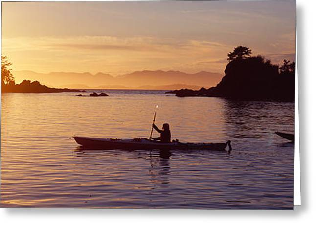 British Columbia Greeting Cards - Two People Kayaking In The Sea, Broken Greeting Card by Panoramic Images