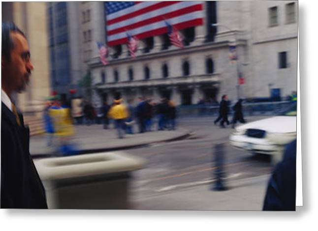 Flag Of Usa Greeting Cards - Two People Walking On The Street, New Greeting Card by Panoramic Images