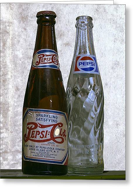 Pepsi Cola Greeting Cards - TWO PEPSI BOTTLES on a TABLE Greeting Card by Daniel Hagerman