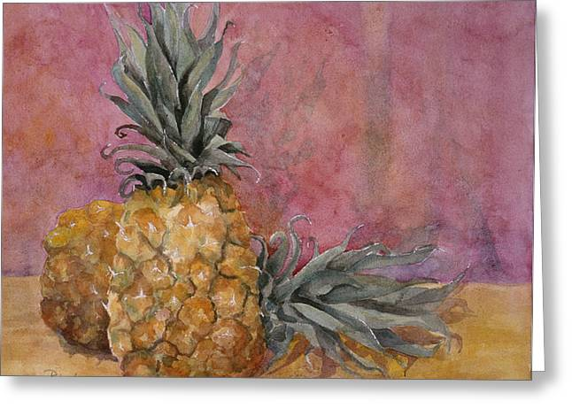 Contemporary Wall Decor Greeting Cards - Two Pineapples Art Painting Greeting Card by Blenda Studio