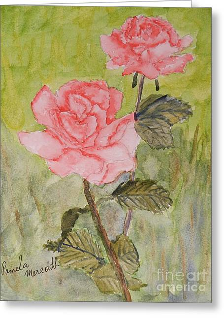 Pamela Meredith Greeting Cards - Two Pink Roses Greeting Card by Pamela  Meredith