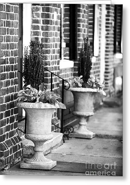 The Doors Poster Greeting Cards - Two Planters by the Door Greeting Card by John Rizzuto