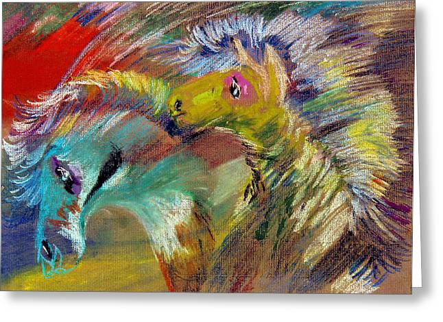 Pony Pastels Greeting Cards - Two Ponies Greeting Card by Kah Wah Tan