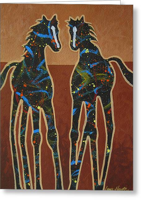 Cave Creek Cowboy Greeting Cards - Two Ponies Greeting Card by Lance Headlee