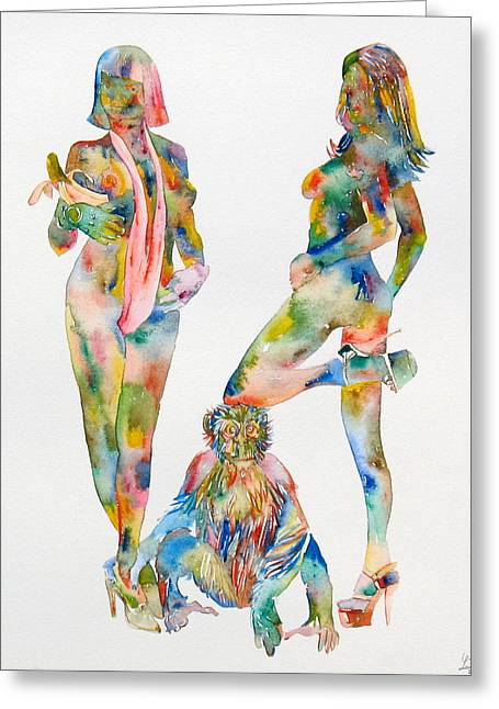 Chimpanzee Paintings Greeting Cards - TWO PSYCHEDELIC GIRLS with CHIMP and BANANA PORTRAIT Greeting Card by Fabrizio Cassetta