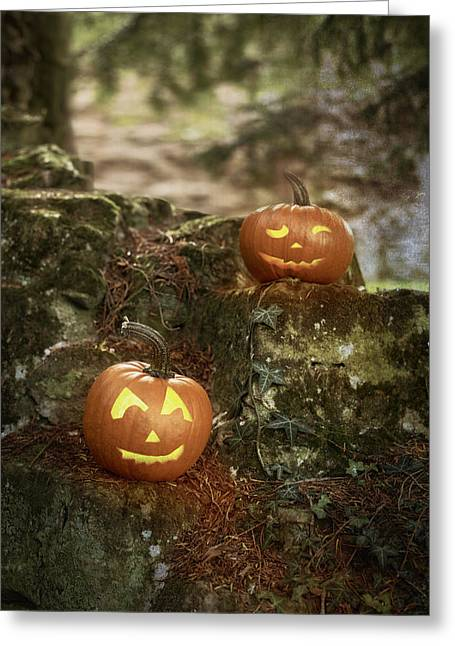 Tricks Greeting Cards - Two Pumpkins Greeting Card by Amanda And Christopher Elwell