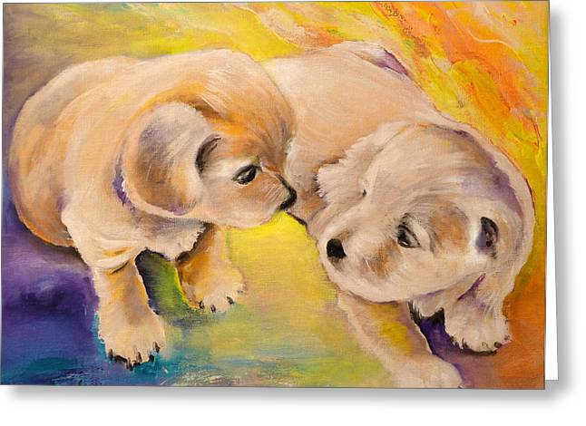 Two Puppies Greeting Card by Miki De Goodaboom