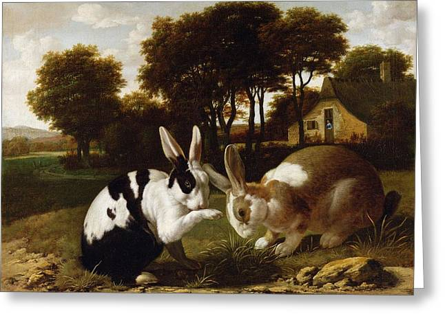 White. Rabbit Greeting Cards - Two Rabbits In A Landscape, C.1650 Greeting Card by Haarlem School
