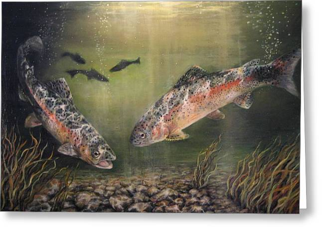 Donna Tucker Greeting Cards - Two Rainbow Trout Greeting Card by Donna Tucker