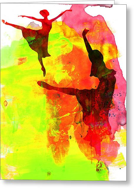 Dancer Photographs Greeting Cards - Two Red Ballerinas Watercolor  Greeting Card by Naxart Studio